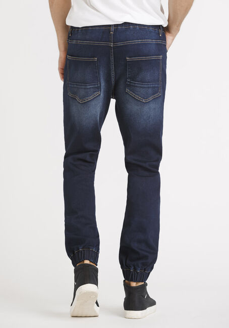 Men's Stretch Denim Joggers, DARK WASH, hi-res