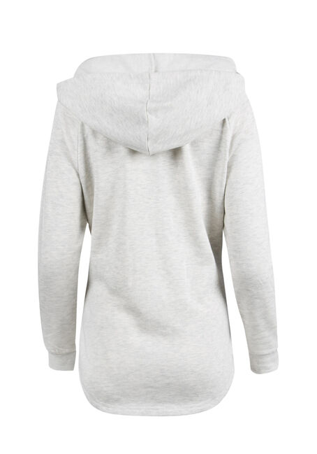 Ladies' Sequin Reindeer Hoodie, HEATHER GREY, hi-res