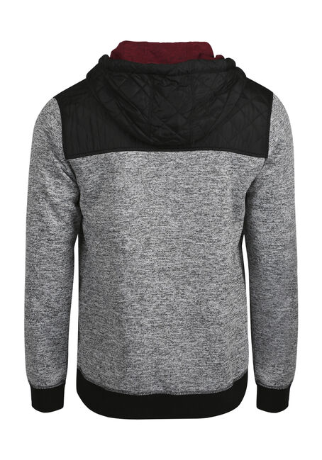 Men's Quilted Insert Hoodie, HEATHER GREY, hi-res