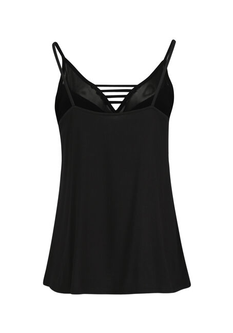 Ladies' Mesh Ladder Neck Tank, BLACK, hi-res