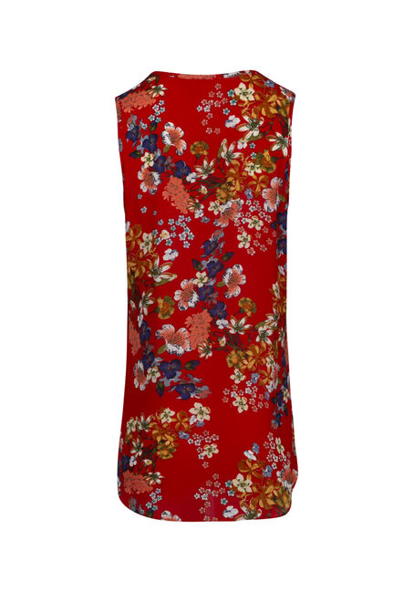Women's Cage Neck Floral Tank, RED SEA, hi-res
