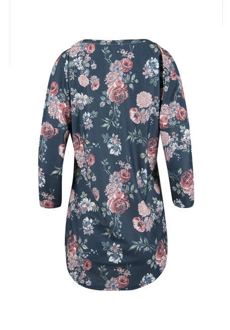 Ladies' Washed Floral Top, ECLIPSE, hi-res