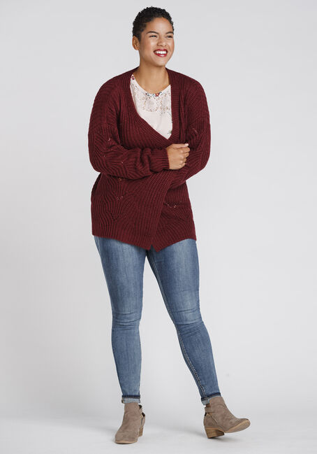 Women's Chunky Knit Pointelle Cardigan, BURGUNDY, hi-res