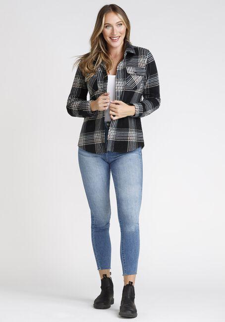 Women's Plaid Shirt Jacket, BLACK, hi-res