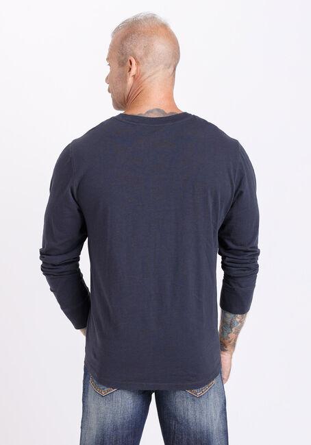 Men's Long Sleeve Vintage Henley Tee, INK, hi-res