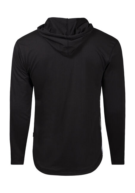 Men's Colour Block Stripe Hooded Tee, BLACK, hi-res