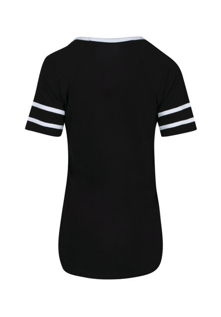 Women's Keyhole Football Tee, BLACK, hi-res