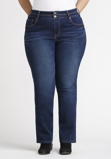 Women's Plus 2 Button Straight Leg Jeans, DARK WASH, hi-res