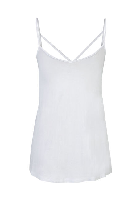 Ladies' Cage Front Strappy Tank, WHITE, hi-res
