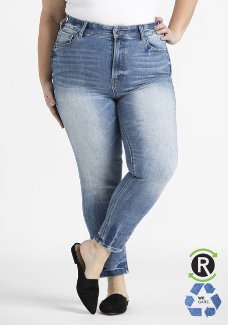 Women's Plus Light Wash High Rise Skinny Jeans