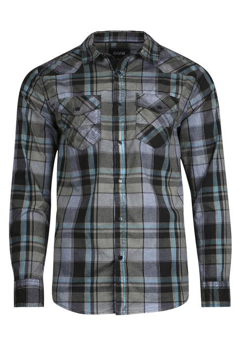 Men's Washed Plaid Shirt, SLATE, hi-res