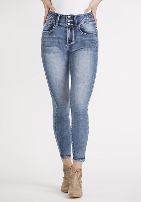 Women's High Rise 3 Button Skinny Jeans