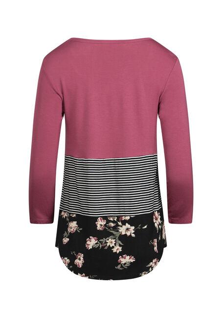 Women's Floral Colour Block Top, PINK CLAY, hi-res