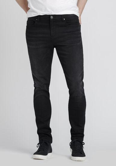 Men's Washed Black Skinny Jeans, BLACK, hi-res