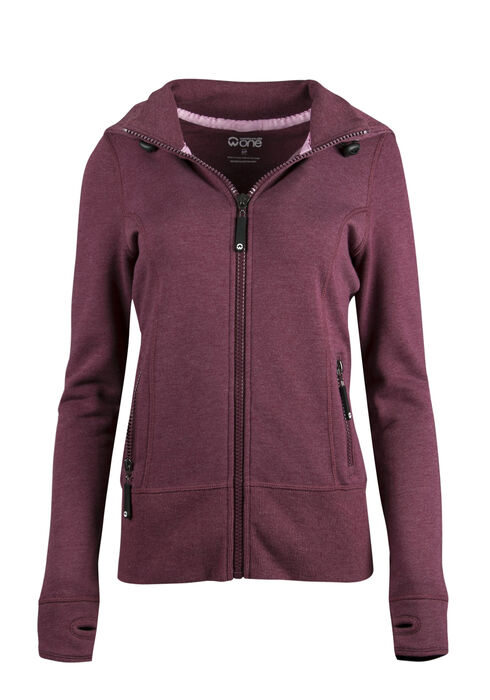 Ladies' Zip Front Hoodie, WINE, hi-res
