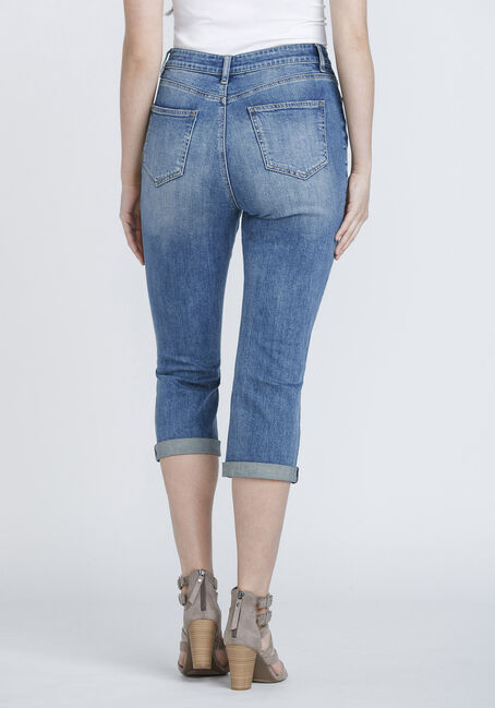 Women's High Rise Distressed Cuffed Crop, DENIM, hi-res