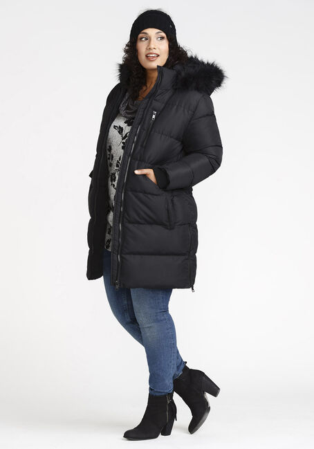 Women's Long Puffer Jacket, BLACK, hi-res