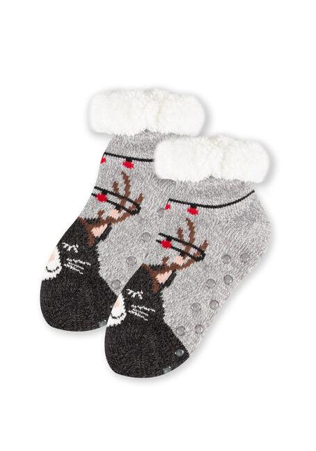 Women's Kitty Reindeer Slipper Socks, GREY, hi-res