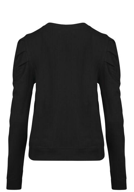 Women's Gathered Sleeve Sweatshirt, BLACK, hi-res