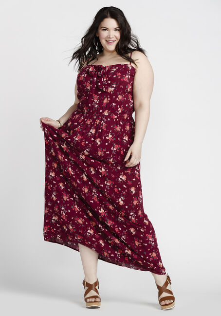 Women's Floral Tie Front Maxi Dress, BURGUNDY, hi-res
