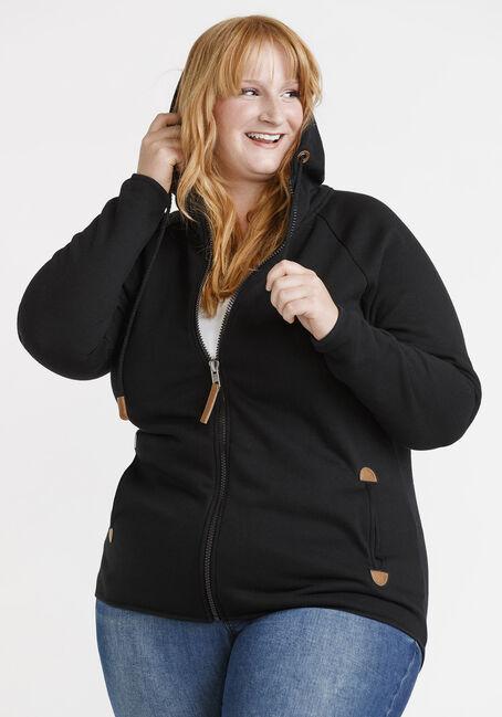 Women's Zip Front Hoodie, BLACK, hi-res