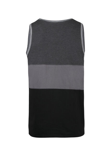 Men's Colour Block Tank, CHARCOAL, hi-res