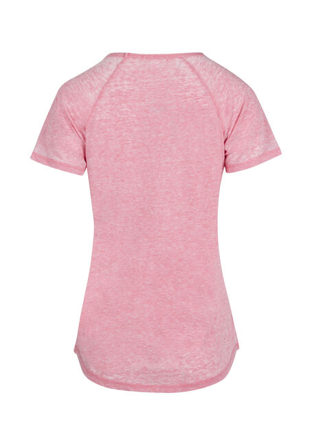 Ladies' Burnout Baseball Tee, ROSE, hi-res