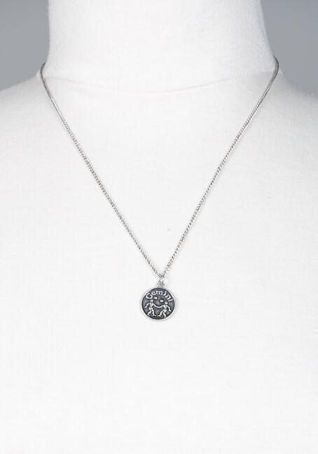 Gemini Pendant Necklace, SILVER, hi-res