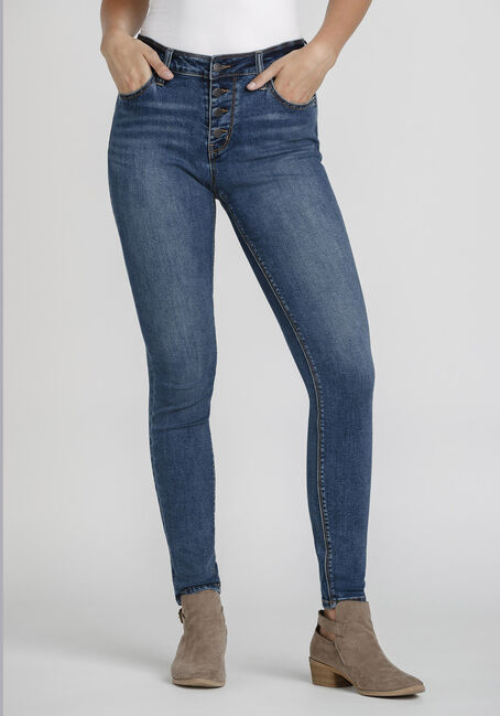 Women's Exposed Button Power Sculpt High Rise Skinny Jeans