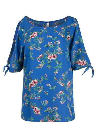 Women's Floral Cold Shoulder Top, ISLAND BLUE, hi-res