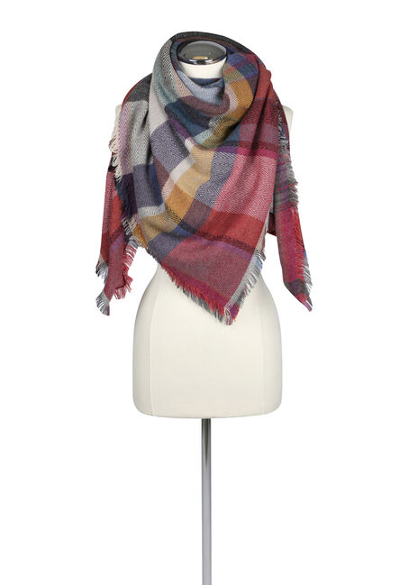 Women's Plaid Blanket Scarf, MULTI, hi-res