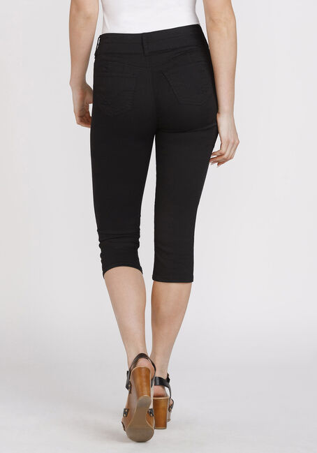 Women's Black Skinny Capri, BLACK, hi-res