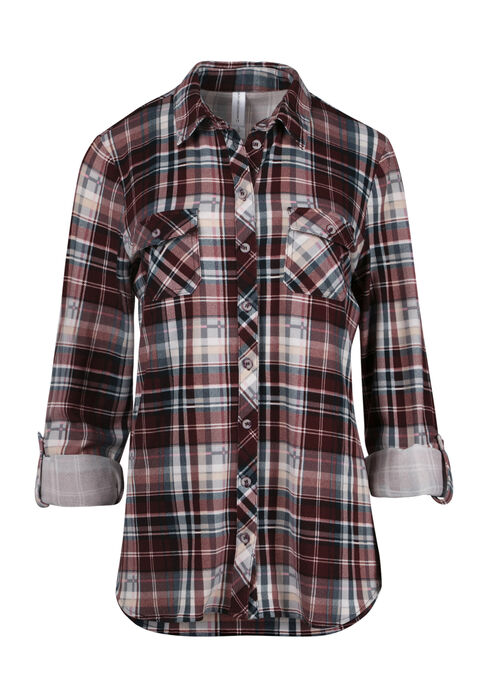 Ladies' Relaxed Fit Knit Plaid Shirt, DK ROSE, hi-res