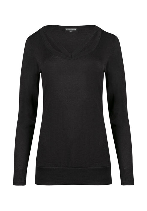 Ladies' Split Neck Tunic Top, BLACK, hi-res
