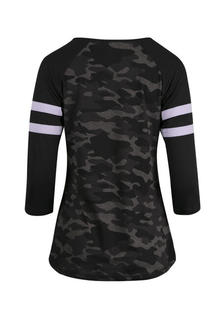 Ladies' Camo Football Tee, BLACK, hi-res