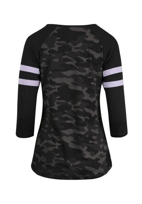 Women's Camo Football Tee, BLACK, hi-res