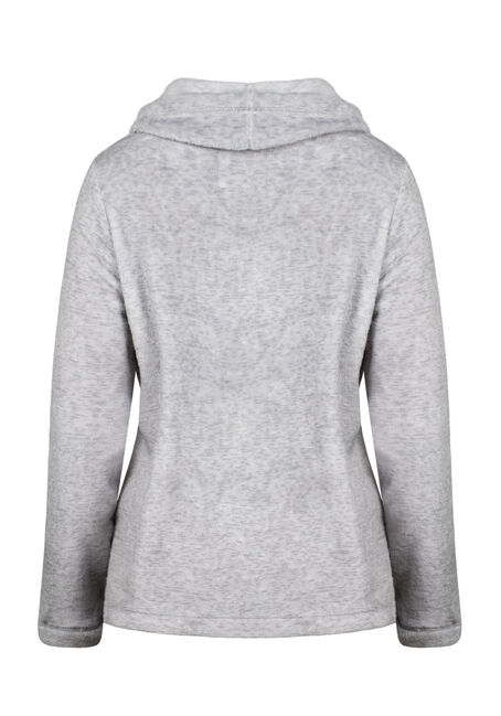 Women's Plush Cowl Neck Fleece, GREY, hi-res