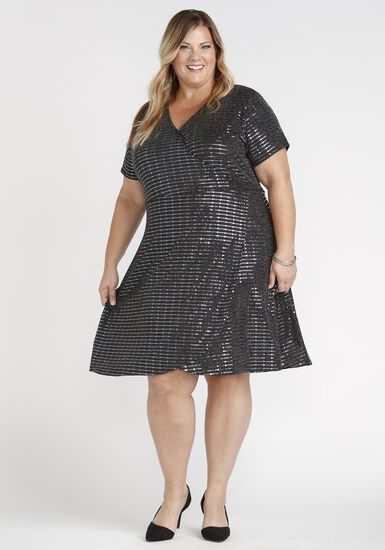 Women's Shimmer Wrap Dress, SILVER, hi-res