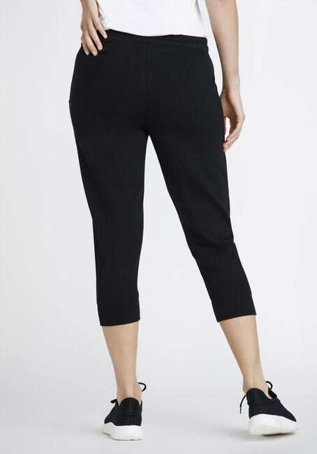 Women's Side Strip Jogger Capri, BLACK, hi-res
