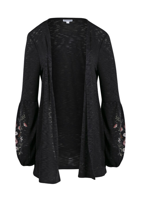 Ladies' Embroidered Balloon Sleeve Cardi, CHARCOAL, hi-res