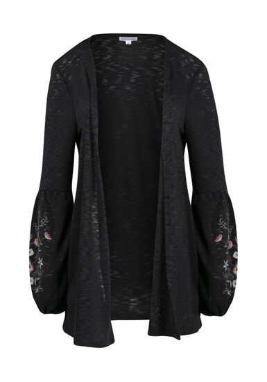 Women's Embroidered Balloon Sleeve Cardi, CHARCOAL, hi-res