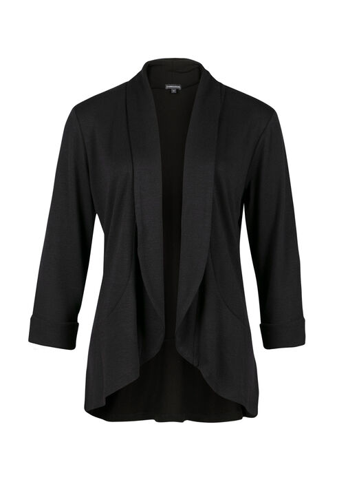 Ladies' Knit Open Blazer, BLACK, hi-res
