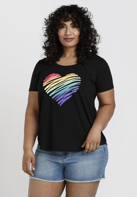 Women's Rainbow Heart Scoop Neck Tee