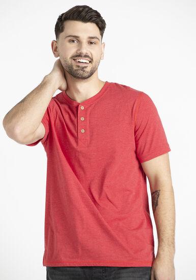 Men's Single Dye Henley Tee, TRUE RED, hi-res