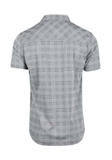 Men's Relaxed Tonal Plaid Shirt, CHARCOAL, hi-res