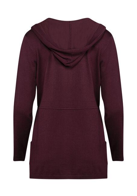 Women's Hooded Cardigan, WINE, hi-res