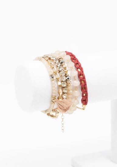 Women's 6 Pair Bracelet Set, BURGUNDY, hi-res