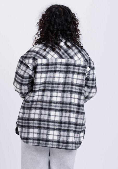 Women's Plaid Button Front Shacket, BLK/WHT, hi-res