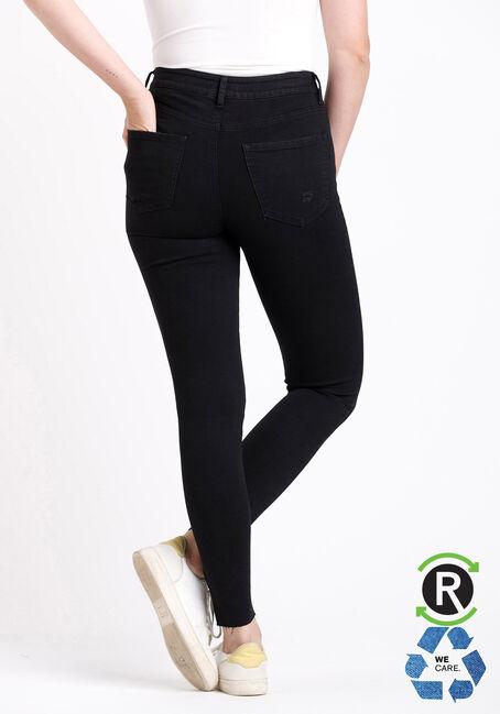 Women's High Rise Black Destroyed Ankle Skinny Jeans, BLACK, hi-res