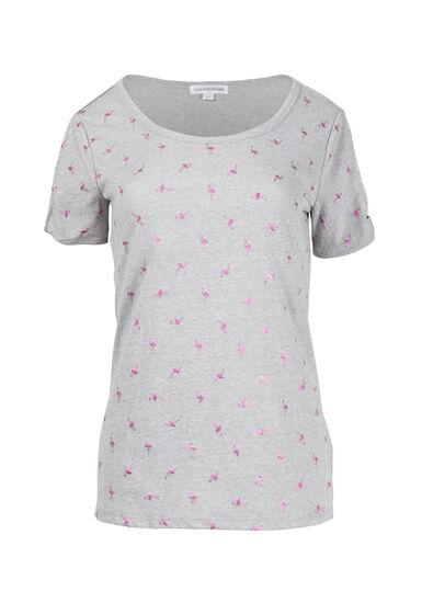 Women's Flamingo Print Split Sleeve Tee, HEATHER GREY, hi-res